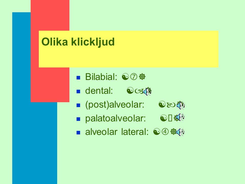 Olika klickljud Bilabial: [‡] dental: [–] (post)alveolar: [—]